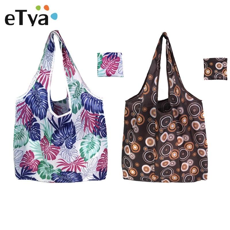 ETya Fashion Floral Foldable Shopping Bag Tote Travel Eco Reusable Shopping Bags Portable Shoulder Grocery Bags Storage Handbag