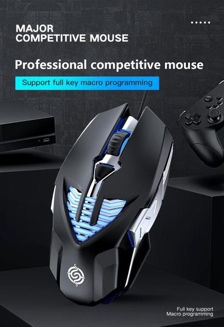 3200 DPI Competitive Gaming Mouse USB 6 Button Macro Definition Metal Mouse Desktop Notebook Wired Mouse For Gamer Home Office 5