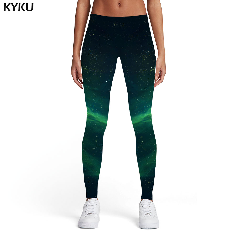 KYKU Galaxy   Leggings   Women Aurora 3d Print Green Ladies Nebula Elastic Harajuku Leggins Womens   Leggings   Pants Fitness Jeggins