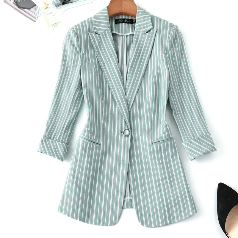 Temperament Sleeves Women's Jacket 2019 Casual Slim Large Size Ladies Striped Blazer Female Business Coat Office Suit Top