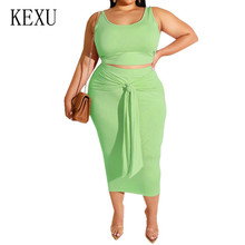KEXU Women Summer Large Size 4XL 5XL Fashion Casual Dress Female 2 Pieces Sets Sleeveless Lace-up Big Woman Clothing