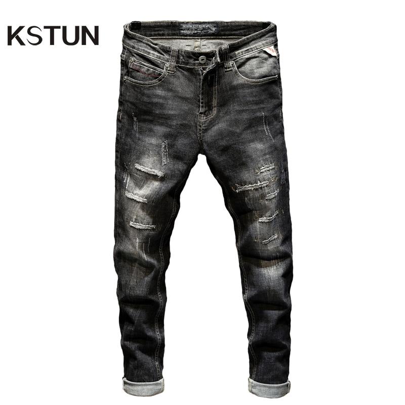 KSTUN Ripped Jeans for Men Slim Fit Stretch Fashion High Street Style Male Denim Pants Frayed Destroyed Vintage Mens Punk Jeans
