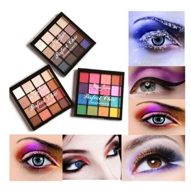 16 Colors/SET Professional Women Eye Shadow Makeup Cosmetic Powder Waterproof Long Lasting Smoky Eyeshadow Palette Makeup Tool 2