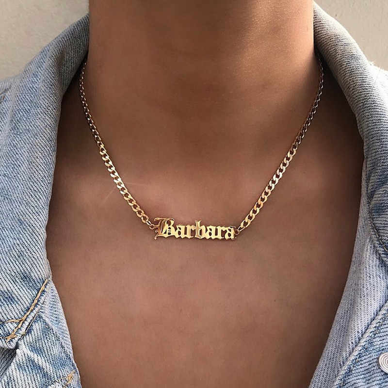 Silver Color Old English Font Custom Name Necklace For Women Personalized Jewelry Stainless Steel Cuban Chain Bijoux Femme 2018