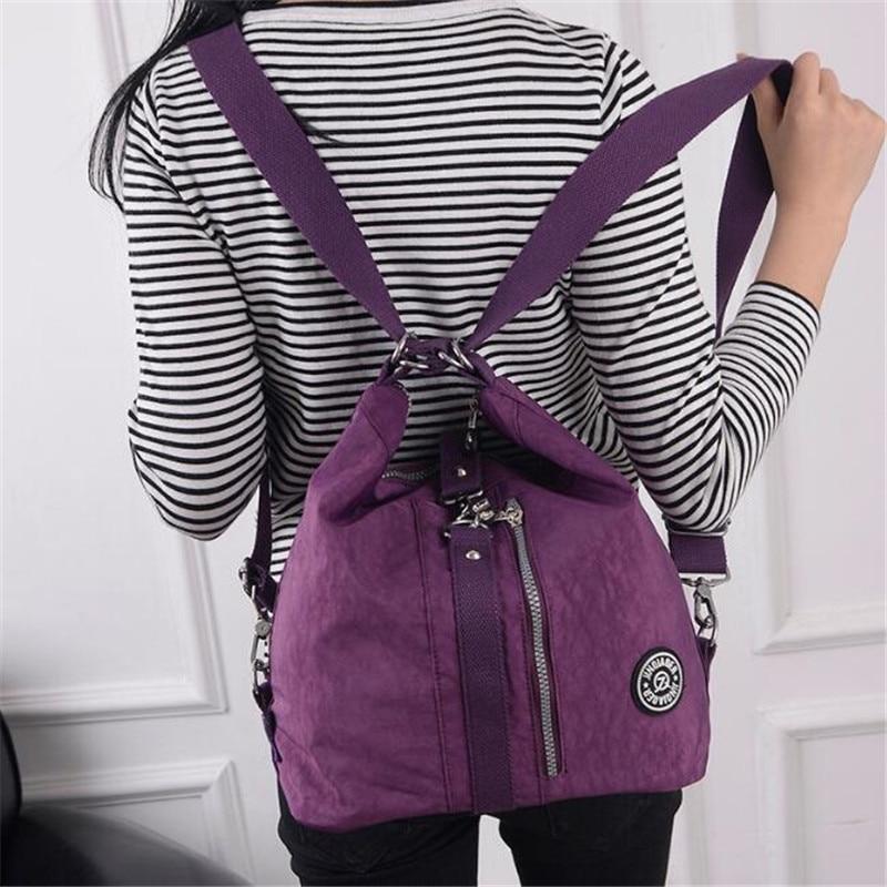 3 In 1 Women Bags Multifunction Backpack Shoulder Bag Nylon Cloth Tote Reusable Shopping Bag Ladys Travel Bag Crossbody Bag