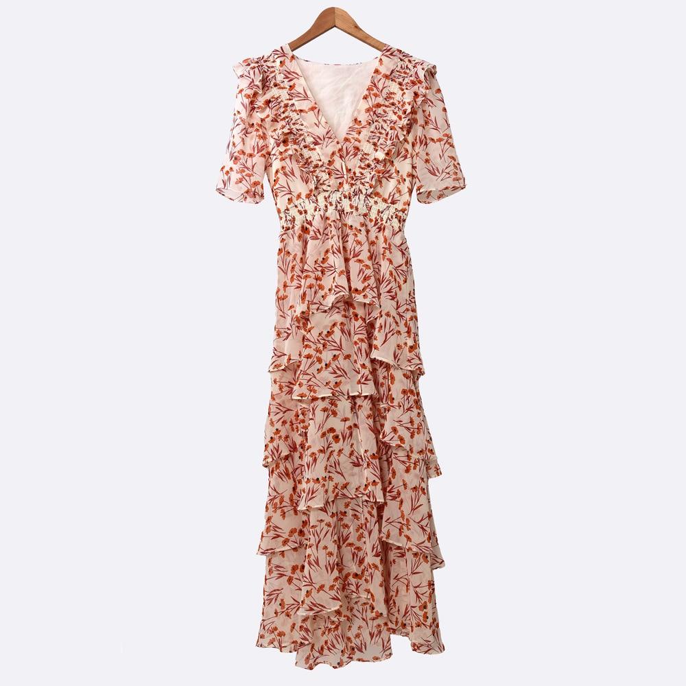 Women's V-neck Ruffles Floral Print  Asymmetry Layered Cake Dress Holiday Long Dresses