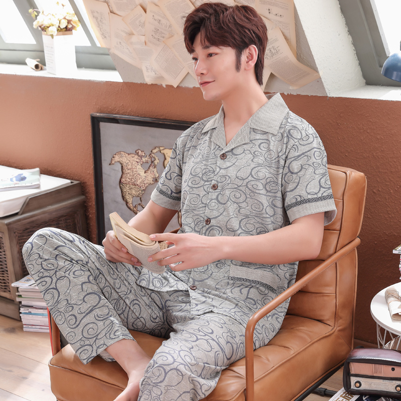 New Arrived Short-sleeved Male Pajamas Summer 100%cotton Print Pyjama Homme Men Sleepwear Plus Size M-4XL Casual Tracksuit Suit