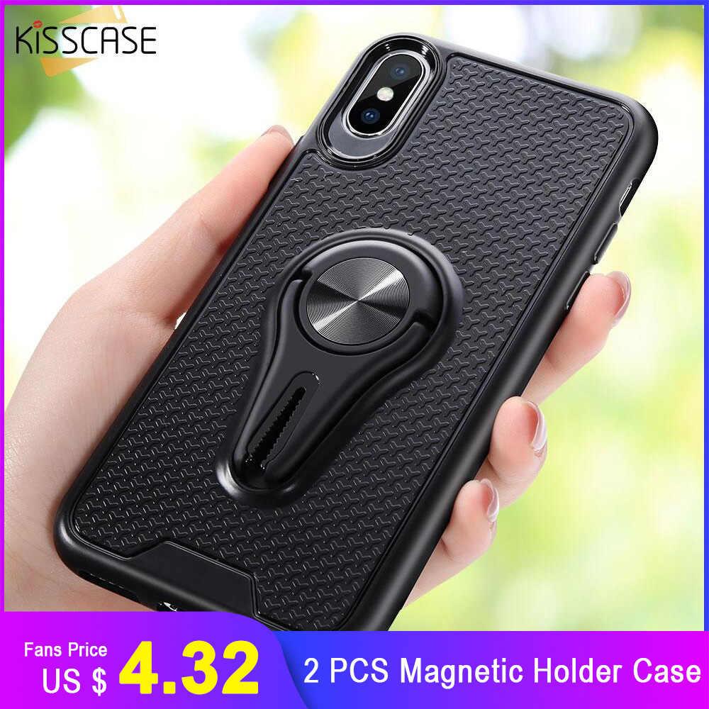 KISSCASE 2 PCS המקורי מקרה עבור iPhone 6S 6 7 8 בתוספת 8 מגנטי רכב הר מחזיק מקרה עבור iPhone XR XS מקס XS X 11 פרו מקסימום 11