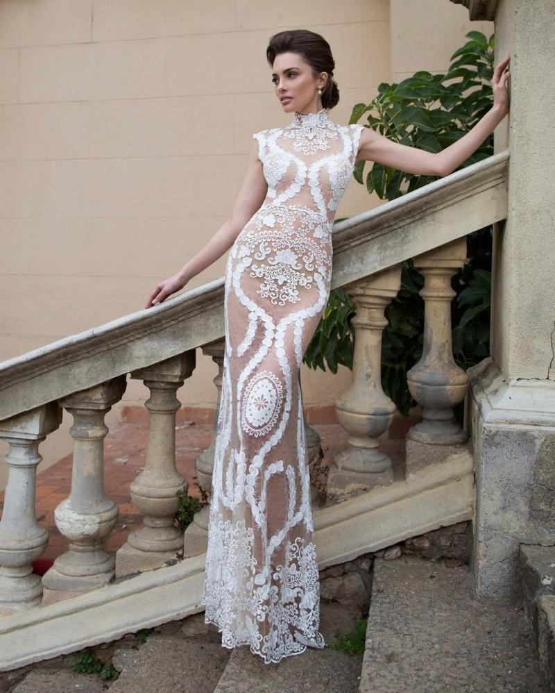 2020 Ensotek New Lace Beach Wedding Dresses Bohemia Sexy Illusion Embroidery Bridal Gowns Vestido De Noiva