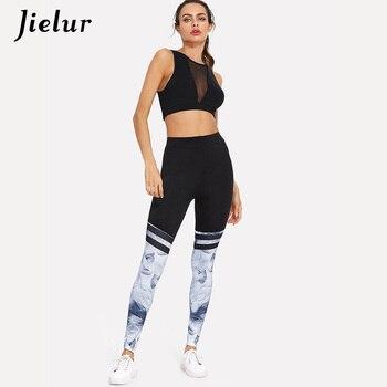 Jielur Multicolor Printing Leggings Women Elastic High Waist Casual Athleisure Skinny Slim Sexy Pants Trousers Leggings Vestidos