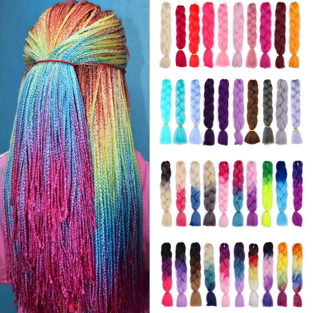 ONYX 24 Inch Braiding Hair Extensions Jumbo Crochet Braids Synthetic Hair Style 100g/Pc Pure / Ombre Color Blonde Pink Green
