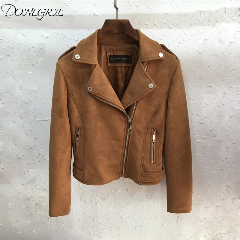 2019 Women Autumn Winter   Suede   Faux   Leather   Jackets Lady Fashion Matte Motorcycle Coat Biker Brown Zipper Outerwear