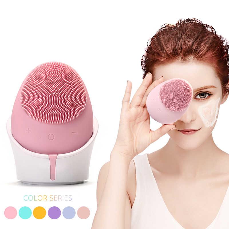 Escova de limpeza facial elétrica sonic vibração silicone rosto escova de lavagem massagem profunda máquina limpeza carregamento sem fio