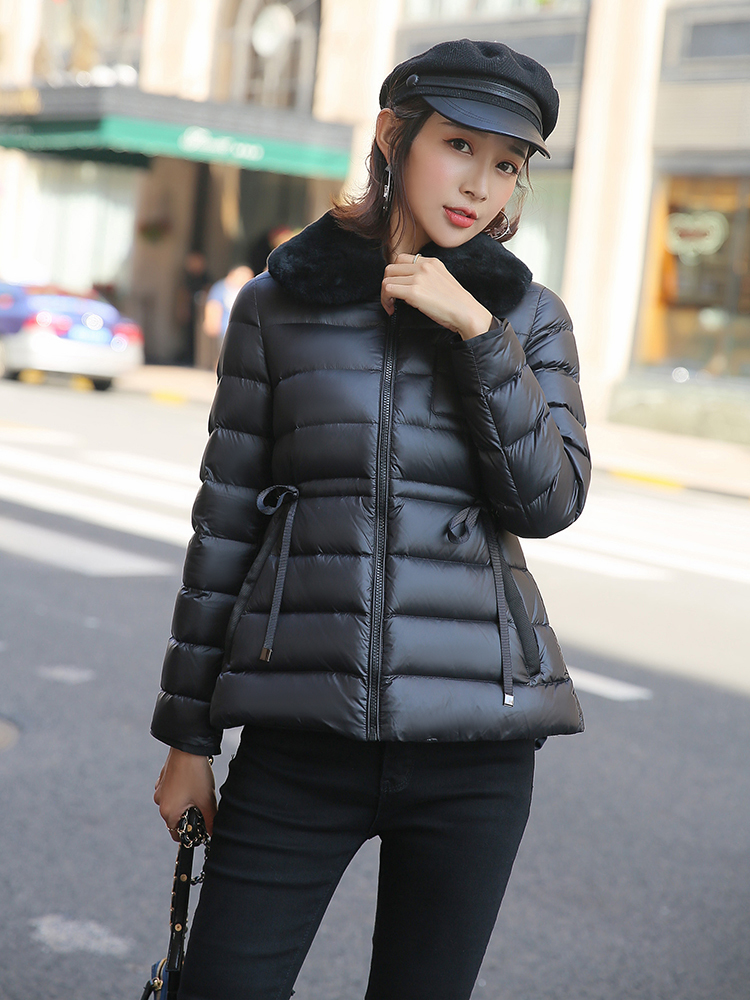Winter Down Jacket Women Warm 90% White Goose Down Coat Female Real Rex Rabbit Fur Clothes 2020 Thick Overcoat Hiver M908
