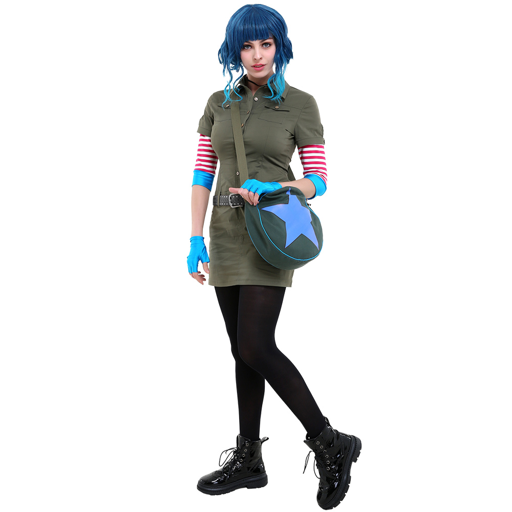 Ramona Flowers Cosplay Costume Cargo Dress Outfit With Star Circle Messenger Bag