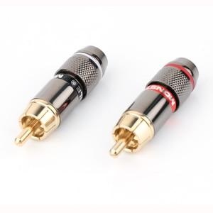 Image 5 - Hifi 8 sztuk wtyczka RCA pozłacane 6mm męskie podwójne samoblokujące złącza przewodów lotosu Adapter Audio, 6mm wtyczka RCA