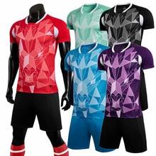 New football uniform soccer jerseys & shorts Adult childrens short-sleeved training suit Football game team shirts Customized