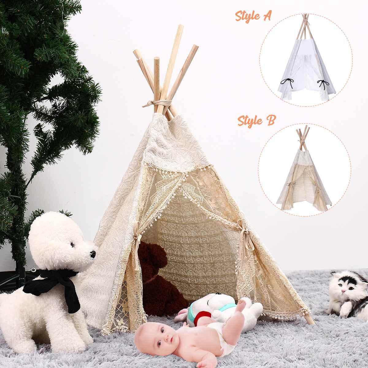 80cm-Large Canvas Teepee Tent Kids Teepee Tipi House Children Tipi Tee Tent Kids Sleeping Newborn Photography Photo Props