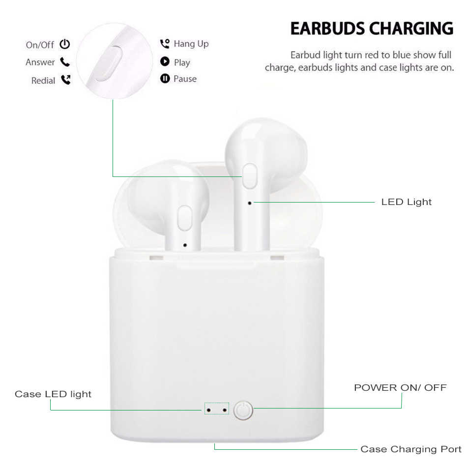 I7s Tws Bluetooth 5.0 אוזניות מיני אלחוטי אוזניות ספורט אוזניות אלחוטי אוזניות עם מיקרופון עבור iPhone Xiaomi LG טלפון