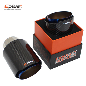EPLUS Car Glossy Carbon Fiber Muffler Tip Exhaust System  Pipe Mufflers Nozzle Universal Straight Stainless Blue For Akrapovic - discount item  42% OFF Auto Replacement Parts