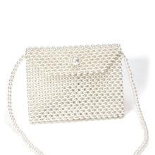 Cute Handmade Pearl Beaded Flap Bags Ladies Shoulder Bag Women Crossbody Bags  Phone Purse Weave Beading Evening Party Bag цена 2017