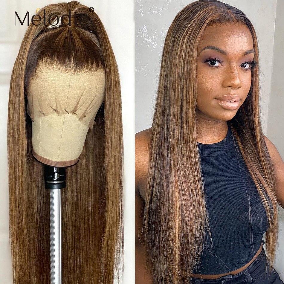 Мелоди Выделите Цветной эффектом деграде (переход от темного к парик 30 дюймов 4 27 прямая шнуровка, парики 13x4 часть синтетические волосы пари...