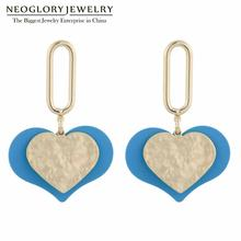 Neoglory Two Tone Plated Two Hearts Enamel Drop Earrings For Women Charm Korean Design Knock Serie Heart Earrings Gift For Lover two tone drop shoulder hoodie