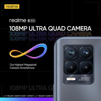 "Global Version realme 8 Pro 8GB 128GB Smartphone 108MP Ultra Quad Camera 6.4"" Super AMOLED Fullscreen 50W SuperDart Charge 3"