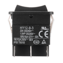 New Push Button Switch HY12-9-3 Model 6 Pins Industrial Electric Rocker ON OFF Arc 125/250V 18/20A
