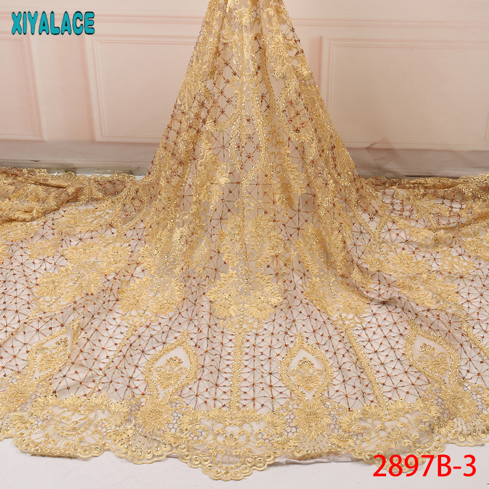 Lastest African Lace Fabrics,High Quality Lace Fabric Embroidery,Luxury Beaded Lace Fabric Wedding Dresses KS2897B-3