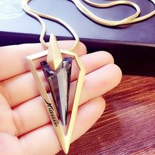 цена на Letters long triangle temperament fashionable joker tassel sweater chain necklace jewelry