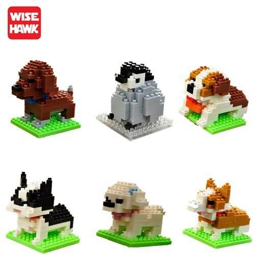 Wisehawk diamante mini blocos de construção brinquedo saco blocos de construção A1-B26 cão gato pássaro série animal para crianças presentes