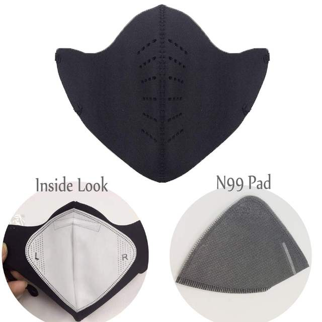 Dust Breathing Mask Activated Carbon Dustproof Mask with 1pcs Extra Carbon N99 Filter for bacteria proof Flu Face masks Care 3