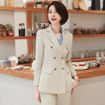 Womens business suit pants Autumn high quality double breasted long sleeve blazer Slim trousers 2019 office female