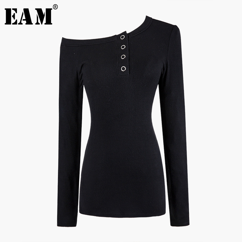 [EAM] Strapless Button Knitting Sweater Loose Fit Oblique Neck Long Sleeve Women New Fashion Tide Spring Autumn 2020 1A516