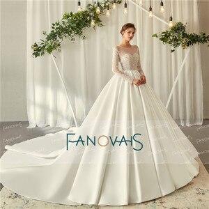 Image 3 - エレガントなアイボリーのウェディングドレス長袖 2019 vestido デ noiva クリスタル夜会服のウェディングドレスローブ · デのみ