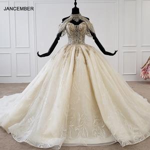 Image 1 - HTL1209 חתונה שמלה בתוספת גודל הלטר applique קריסטל דפוס תחרה עד בחזרה יוקרה חתונה שמלת 2020 תחרה свадебные платья חדש