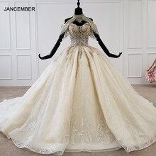 HTL1209 düğün elbisesi artı boyutu halter aplike kristal desen lace up geri lüks düğün elbisesi 2020 dantel свадебные платья yeni