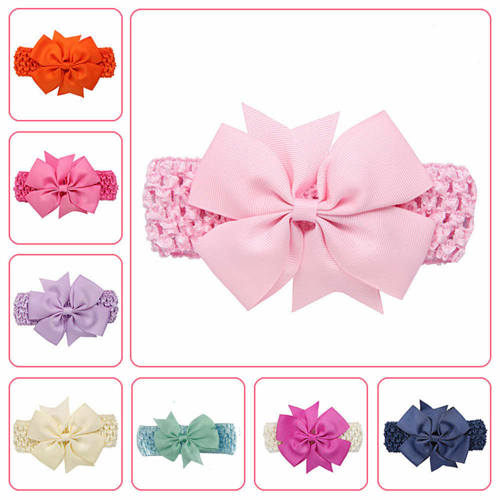 Lovely Baby Ribbon Hair Bow Band Infant Solid Candy Color Bowknot HeadBand Soft Elastic Headwear Accessories For Girls Party