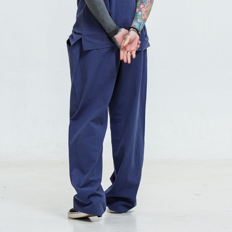 Linen Pants Men's Thin Athletic Pants Loose Straight Cotton Linen Chinese-style Casual Pants Large Size Trousers MEN'S Trousers