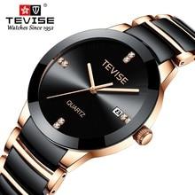 TEVISE T845LS Das Mulheres Relógios Relógio de Quartzo Mulheres Moda Casual Senhoras Cerâmica Relógio Relógio de Pulso À Prova D Água Ferramenta de Correção Dropshipping