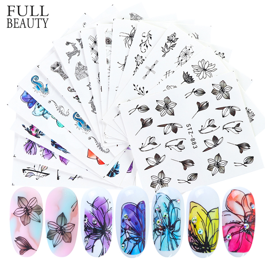 Black Floral Leaves Stickers For Nails Set Gothic Face Water Transfer Decals Nail Art Sliders Manicure Decoration CHSTZ892-905-1