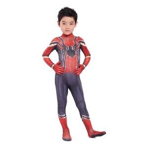 Image 3 - Kids Spider Zentai Unisex Halloween Zentai Cosplay Costume Spider Spandex Lycra Bodysuit Jumpsuits Iron Spider