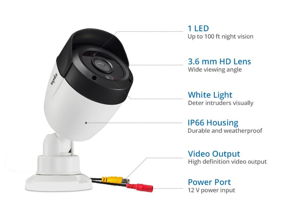 Sannce 5mp супер hd камера безопасности 4x 8x 100ft ночное видение