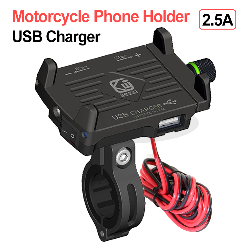 Aluminum Alloy Motorcycle Phone Holder With 12/24V USB Charger Adjustable Mobile Phone Holder For Electric Car Motorcycle Holder