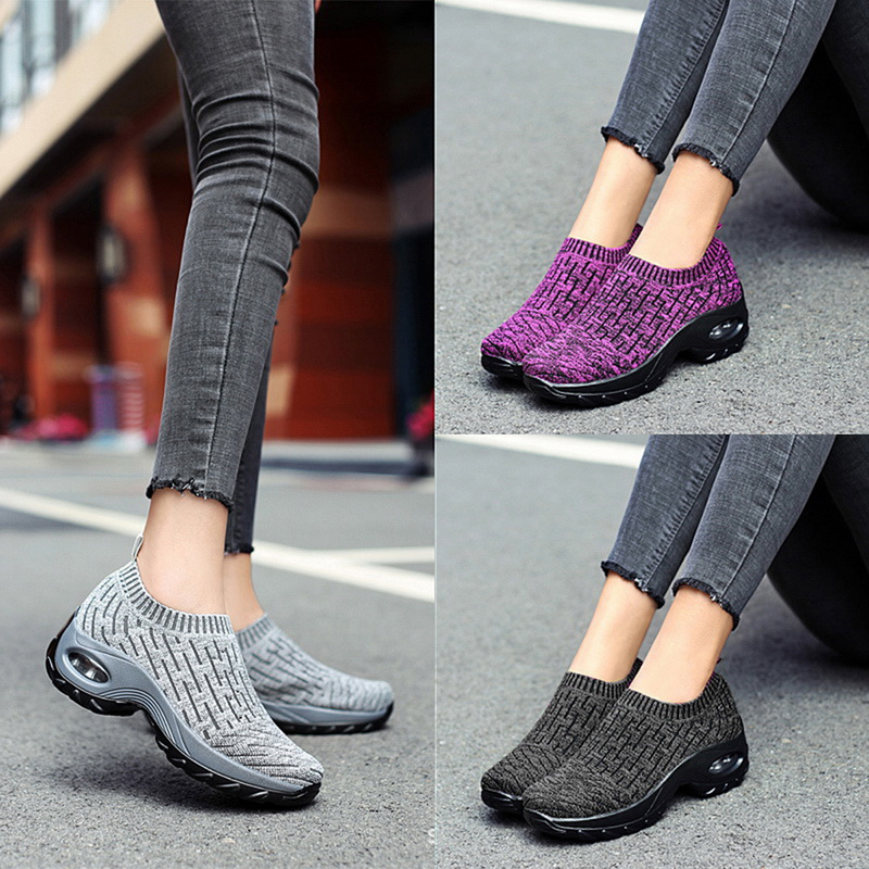 Woman Slip-on Air Cushion Casual Ladies Shoes Woman Breathable Mesh Woman Sneakers Tenis Feminino Jogging Sneaker 2020