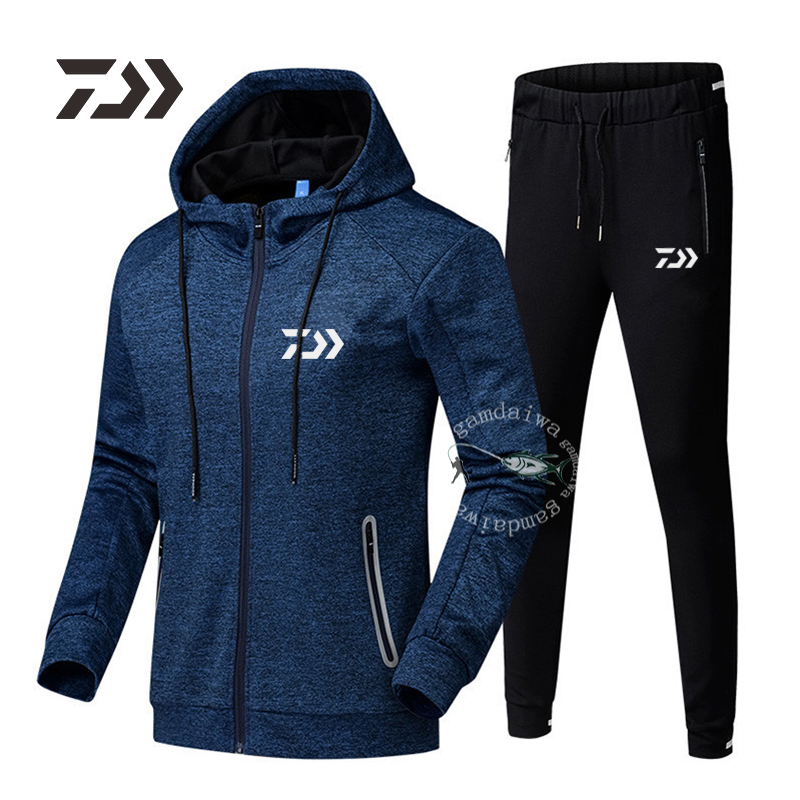 Daiwa Fishing Hooded Suit Outdoor Casual Sport Clothes Men's Professional Clothing Cotton Two Piece Sweatshirt Pants Fishing