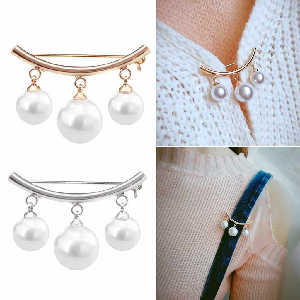 Safety Pin Brooches Sweater Jewelry Fashion Women Charm Three Pearl Blouse Shirt Collar Stick Pin Scarf Clothes Decors New 30