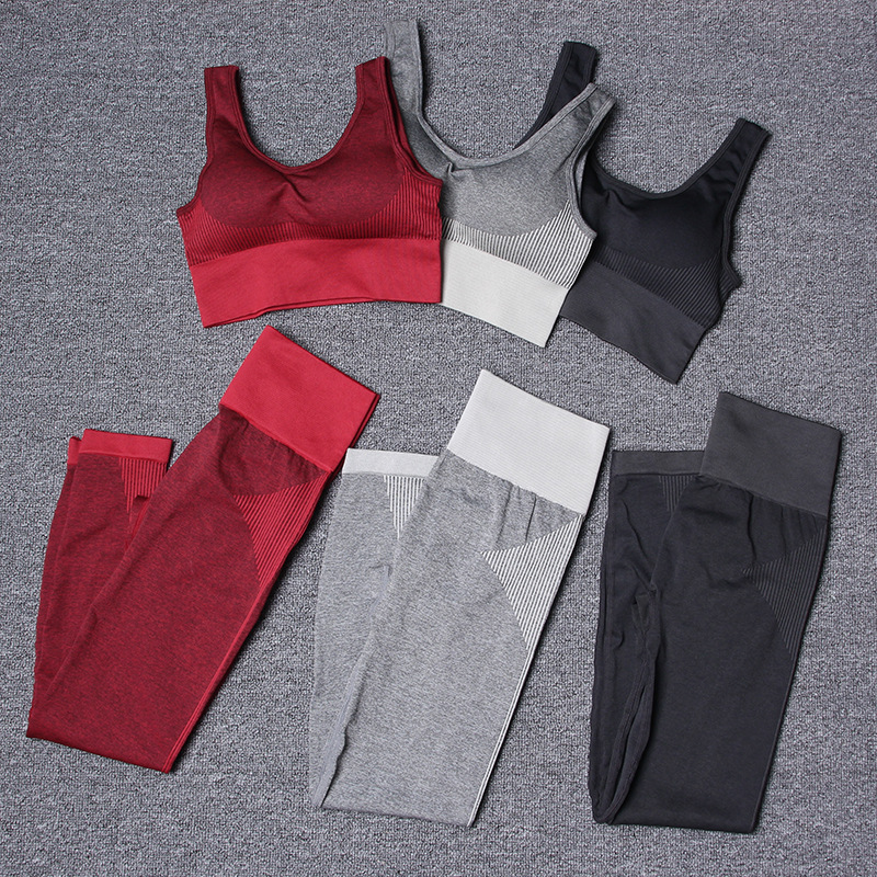 2PCS Seamless Yoga Set Women Fitness Clothing Workout Sportswear Gym Leggings and Sport Bra Crop Top Shirts Sports Suit