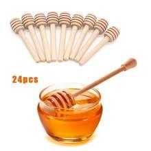 24 adet ahşap karıştırıcı bal kepçe ahşap bal kaşığı sopa bal kavanozu sopa toplama ve dağıtım bal araçları